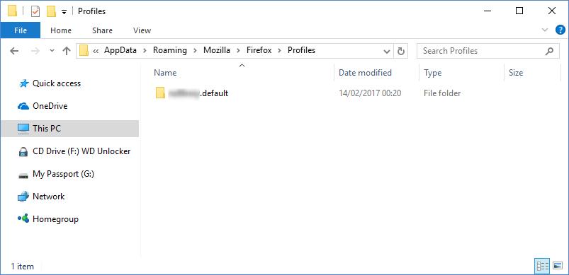 Profil użytkownika Firefox